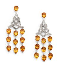 John Hardy | Orange Classic Chain Citrine, Diamond & Sterling Silver Chandelier Earrings | Lyst