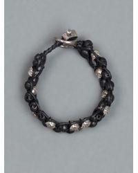 Tobias Wistisen - Black Skull Braided Bracelet for Men - Lyst