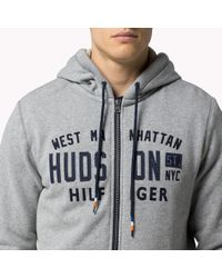 Tommy Hilfiger | Gray Cotton Blend Zip Hoody for Men | Lyst