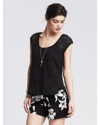 Banana Republic | Black Floral Net Lace Top | Lyst