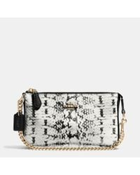 COACH | Black Nolita Wristlet 19 In Colorblock Exotic Embossed Leather | Lyst
