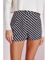 Missguided - Black Monochrome High Waisted Shorts - Lyst