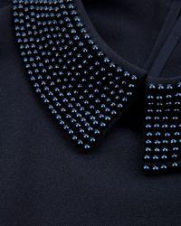 Ted Baker | Blue Hellia Embellished Collar Top | Lyst