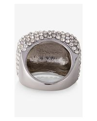 Express | White Pave Square Ring | Lyst