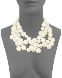 Kenneth Jay Lane | White Mulit-row Faux Pearl Collar Necklace | Lyst