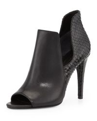 Sigerson Morrison | Black Mance Cutout Snake-embossed Bootie | Lyst