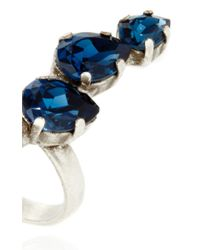 Ryan Storer | Blue Oxidized Silver Plated Open Front Ring With Swarovski Crystal Details | Lyst