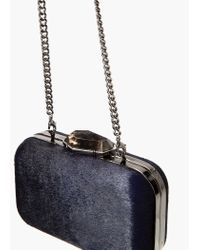 Mango - Blue Leather Fur Clutch - Lyst