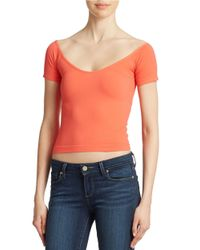 Jessica Simpson | Pink Off-the-shoulder Crop Top | Lyst