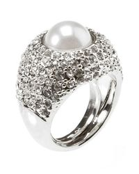 Kenneth Jay Lane | Metallic Women's Silver Tone Pearl Center Ring | Lyst