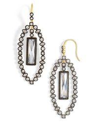Freida Rothman - Metallic 'metropolitan' Marquise Drop Earrings - Gunmetal/ Clear - Lyst