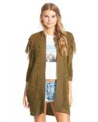 Volcom | Green 'black Sheep' Open Cardigan | Lyst