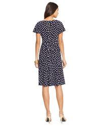 Lauren by Ralph Lauren - Blue Polka-Dot Surplice Dress - Lyst