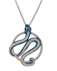 Lord & Taylor | Blue Sterling Silver Enamel Snake Pendant With Sapphire And White Topaz | Lyst