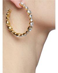Kenneth Jay Lane | Metallic Crystal Embellished Hoop Earrings | Lyst