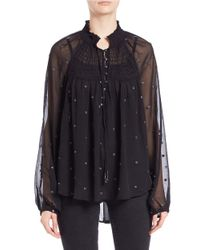 Free People - Black Embroidered Peasant Top - Lyst