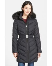 DKNY - Black Down & Feather Fill Coat With Faux Fur Trim - Lyst