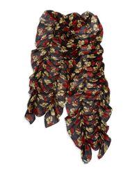 Lauren by Ralph Lauren | Black Ruffled Floral Scarf | Lyst