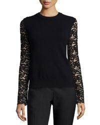 Tory Burch - Black Crochet Lace Peplum Sweater - Lyst