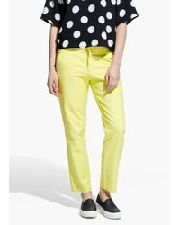 Mango | Yellow Stretch Cotton Trousers | Lyst