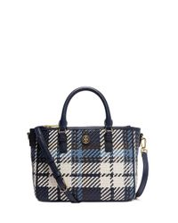 Tory Burch - Blue Robinson Woven Plaid Small Multi Tote - Lyst