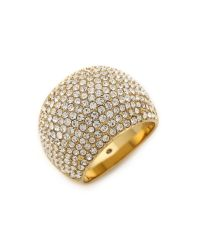 Michael Kors | Metallic Pave Dome Ring - Gold/Clear | Lyst