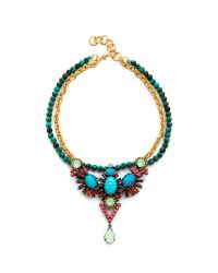 Elizabeth Cole - Green Dangling Pear Necklace - Lyst