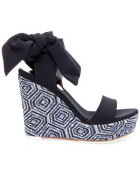 Donald J Pliner - Blue Donald J Pliner Nela Platform Wedge Sandals - Lyst