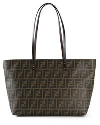 Fendi | Brown Roll Logo-Detail Calf-Leather Tote | Lyst