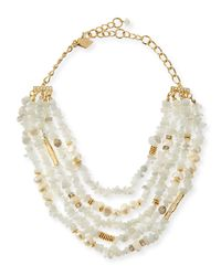 Sequin | White Multi-strand Agate & Pearl Necklace | Lyst