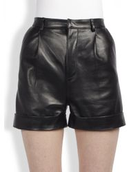 Saint Laurent | Black Singlepleat Leather Shorts | Lyst