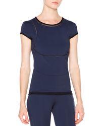 Callens - Blue Cap-sleeve Mesh-inset T-shirt - Lyst