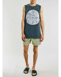 TOPMAN - Yellow Lemon Shark Print Swim Shorts for Men - Lyst