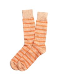 Brooks Brothers | Orange Heather Stripe Crew Socks for Men | Lyst