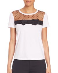 RED Valentino - Multicolor Swiss Dot & Jersey Bow Tee - Lyst