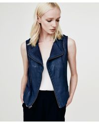 Krisa - Blue Coated Moto Vest - Lyst