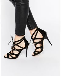 Dune | Mila Black Tie Up Heeled Sandals | Lyst