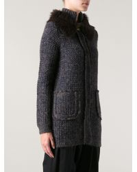 Tory Burch - Blue Faux fur Collar Cardigan - Lyst