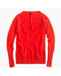 J.Crew | Red V-Neck Cashmere Sweater | Lyst