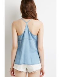 Forever 21 - Blue Chambray Y-back Cami - Lyst