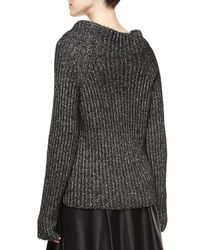 Belstaff - Black Speckled Ribbed Knit Sweater - Lyst