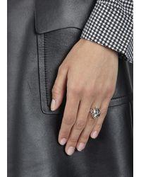 Alexander McQueen | Metallic Silver Plated Spiked Skull Ring | Lyst