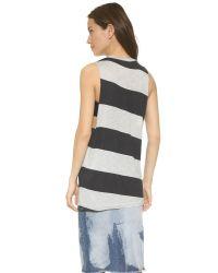Cheap Monday | Black Trouble Tank - Diagonal Stripe | Lyst
