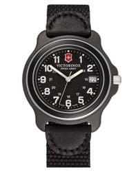 Victorinox - Black 'original' Large Nylon & Leather Strap Watch for Men - Lyst