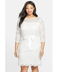 Marina | White Tiered Stretch Lace Sheath Dress | Lyst
