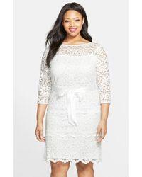 Marina | White Tiered Stretch Lace Sheath Dress | Lyst