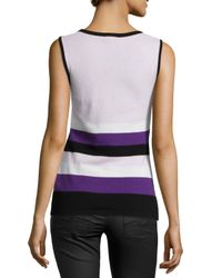 ESCADA - Multicolor Sleeveless Scoop-neck Striped Knit Top - Lyst
