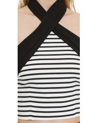 Nicholas - Breton Stripe Cross Front Halter Top - White/black - Lyst