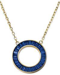 Michael Kors | Blue Gold-Tone Montana Baguette Open Circle Pendant Necklace | Lyst