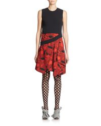 Proenza Schouler | Black Slash-detail Silk Dress | Lyst